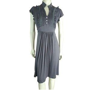 Joie Dress Charcoal Ruffled Lace Empire Waist Belt
